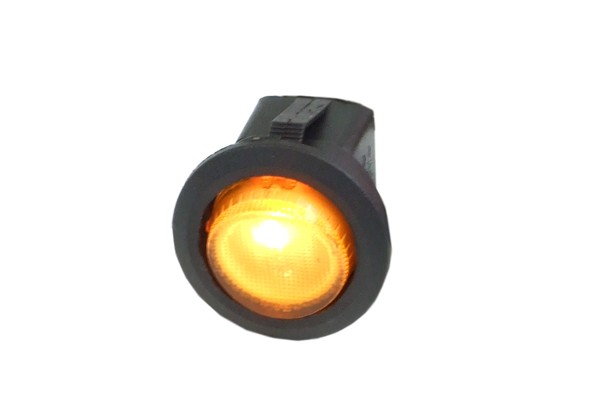 Phobya round toggle switch - yellow lighting - unipolar ON/OFF black (3-Pin)