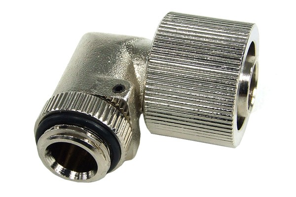 """16/11mm compression fitting 90° angled G1/4"""" silver nickel plated"""
