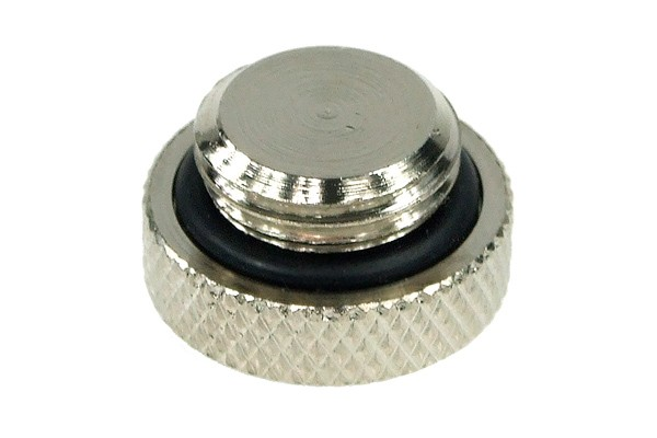 screw-in seal cap G1/4 Inch - knurled – high profile - silver
