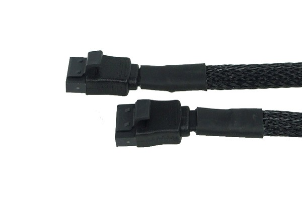Phobya SATA 3.0 connection cable straight with safety latch 15cm - black