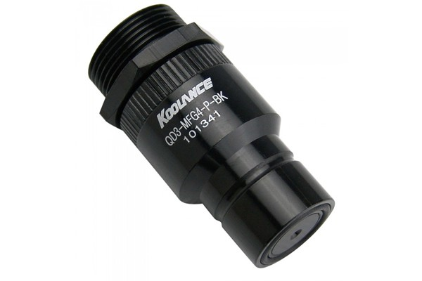 """Koolance quick release connector G1/4"""" inner thread to male (High Flow) incl. bulkhead coupling - QD3 black"""
