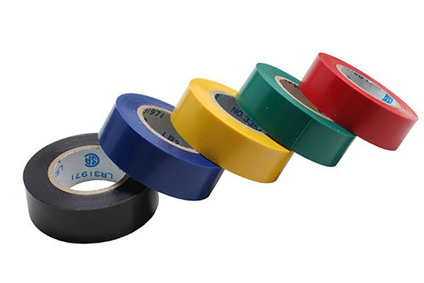 InLine® 5-pack electrical tape, 18mm x 30ft, multiple colours.