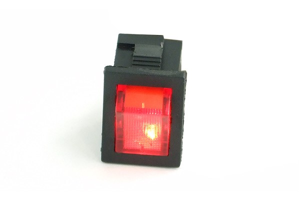 Phobya rectangular toggle switch - red lighting - unipolar ON/OFF black (3-Pin)