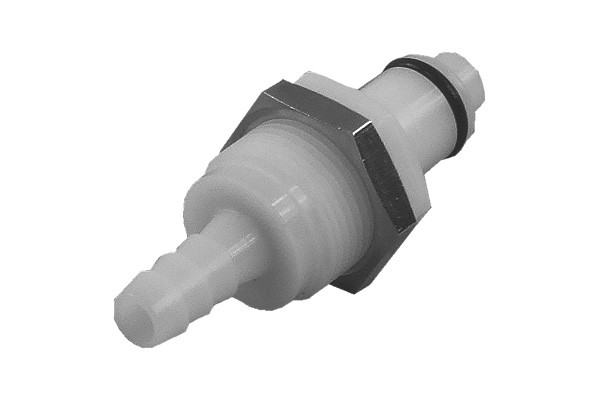 Quick release connector CPC 6,4mm plug with bulkhead thread