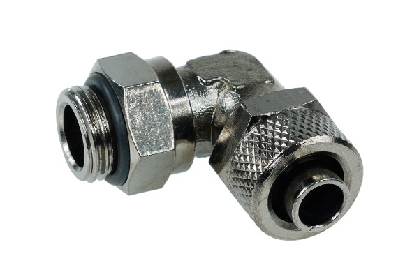 10/8mm (8x1mm) compression fitting G1/4 90° revolvable - black nickel