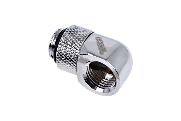 Alphacool Eiszapfen L-connector rotatable G1/4 outer thread to G1/4 inner thread - chrome