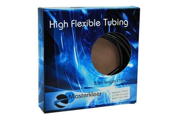 "Masterkleer tubing PVC 10/8mm (5/16""ID) UV-reactive black 3,3m (10ft) ""Retail Package"""