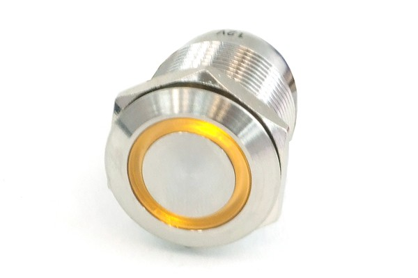 Phobya push-button vandalism-proof / bell push 19mm stainless steel, yellow ring lighting 6pin