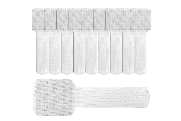 Label The Cable Cable Clips Adhesive LTC WALL STRAPS, 10 pc, white