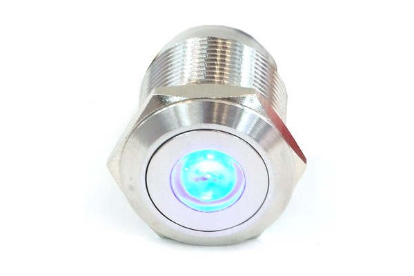 Phobya push-button vandalism-proof / bell push 16mm stainless steel, blue dot lighting 5pin