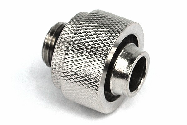 19/13mm compression fitting straight G1/4' silver nickel plated