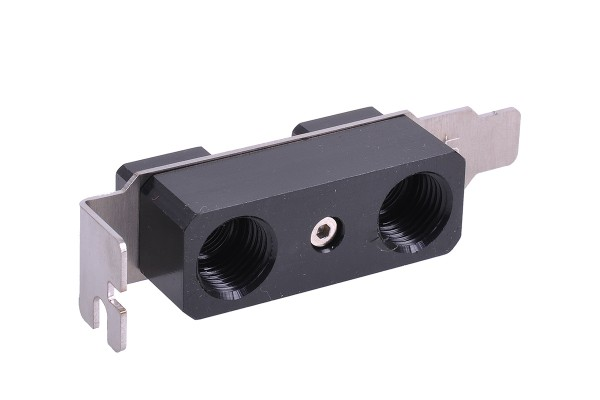 Aquacomputer enclosure loop-thourgh via slot cover with two connections G1/4 outside to G1/8 inside low profile