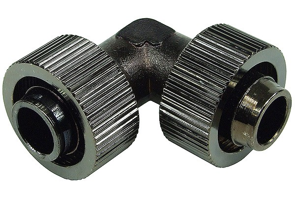 19/13mm L tubing connector - compact - black nickel plated