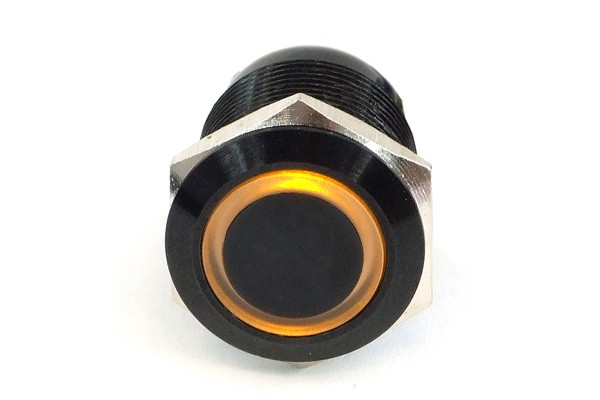 Phobya push-button vandalism-proof / bell push 19mm aluminium black, yellow lighting, with screw-on contacts