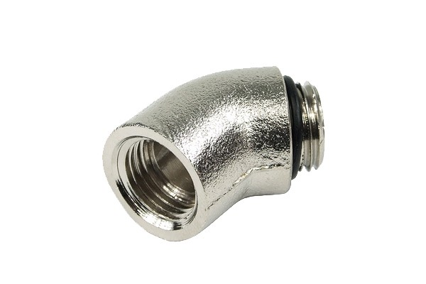 "angled 45° adaptor G1/4"" to G1/4"" inner thread - round - short - silver nickel plated"