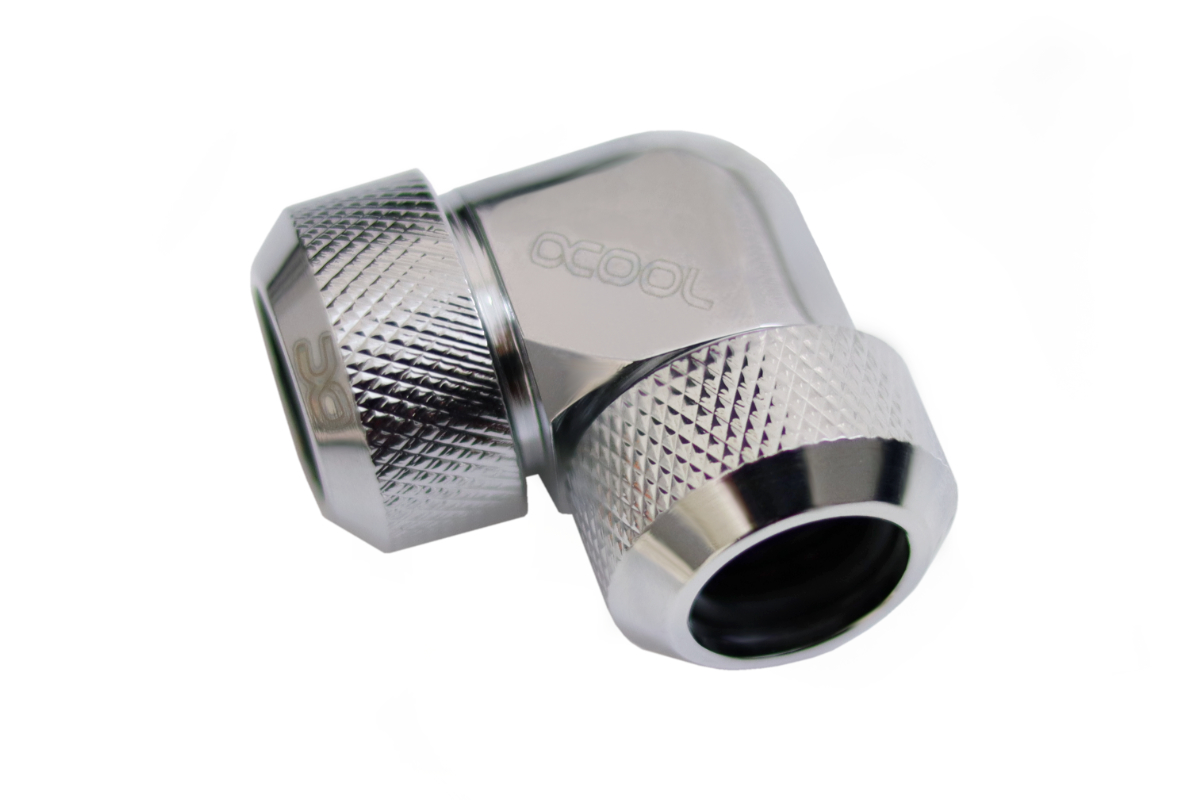 Alphacool Eiszapfen 13mm HardTube compression fitting 90° L-connector for  plexi- brass tubes (rigid or hard tubes) - knurled - chrome