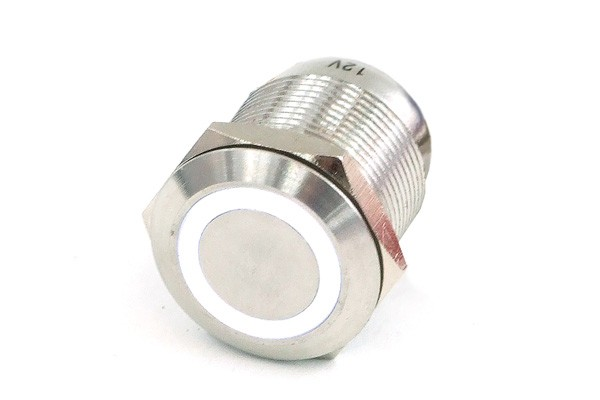 Phobya push-button vandalism-proof / bell push 19mm stainless steel, white lighting, with screw-on contacts 6pin