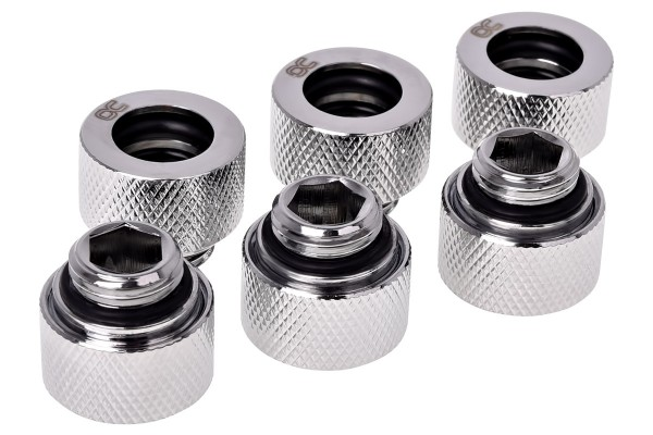 Alphacool HT 12mm HardTube compression fitting G1/4 - knurled - chrome sixpack