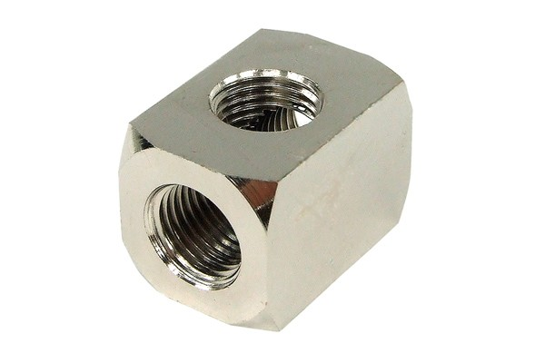 "Delrin TEE T-piece G1/4"" fitting option - silver nickel"