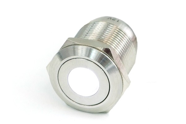 Phobya push-button vandalism-proof / bell push 19mm stainless steel, white spot lighting 6pin
