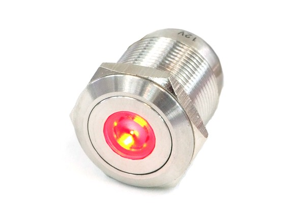Phobya push-button vandalism-proof / bell push 16mm stainless steel, red dot lighting 5pin