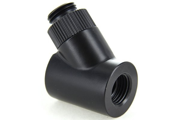 "Monsoon 19/13mm (OD 3/4"") Light Port Rotary 45° - Matte Black"
