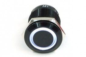Phobya push-button vandalism-proof / bell push 16mm aluminum black, white ring lighting 5pin